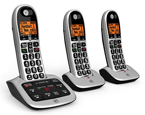 BT 4600 Big Button Advanced Call Blocker Cordless Home Phone with Answer Machine (Trio Handset Pack) from BT