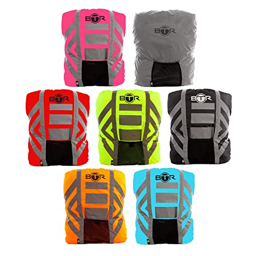 BTR Waterproof High Visibility Backpack Cover. High Viz Rucksack Cover With Reflective 3M Tape, Reflective Silver Large from BTR
