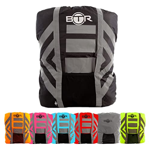 BTR Waterproof High Visibility Backpack Cover. High Viz Rucksack Cover With Reflective Tape. Black Medium from BTR