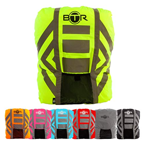 BTR Waterproof High Visibility Backpack Cover. High Viz Rucksack Cover With Reflective 3M Tape. Yellow Large from BTR