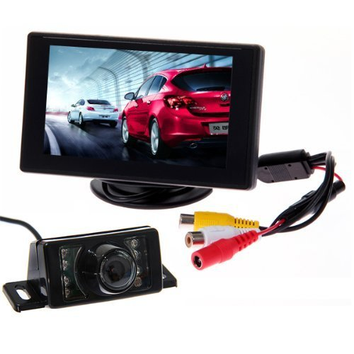 "BW Car Parking System Kits - 4.3"" Color TFT LCD Car Rearview Monitor + 7 Leds IR Night Vision Car Rear View Reverse Reversing Waterproof Video Camera from BW"