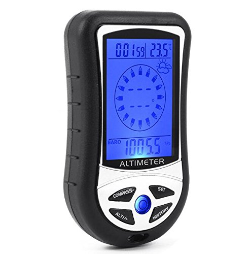 BW New 8 In 1 Digital Compass LCD Altimeter Barometer Thermometer Black from BW