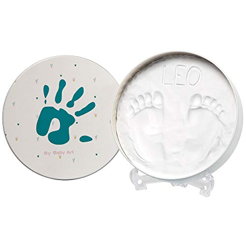 Baby Art Magic Box Round Essentials Elegant Gift Box with Plaster Cast for Baby Feet or Hands, Multi-Coloured from Baby Art