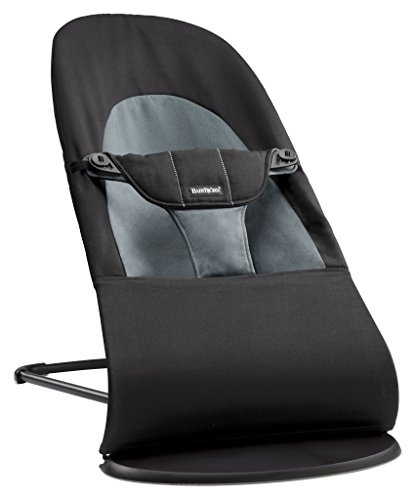 BABYBJÖRN Balance Soft Cotton Bouncer, Black/Dark Grey from Baby Bjorn