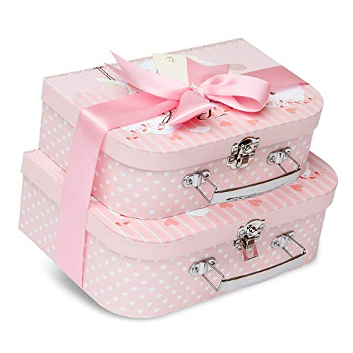 Keepsake Box - 2 Pink Cases with Satin Ribbon and Message Tag for Baby Girl Gift Set from Baby Box Shop