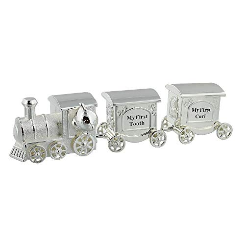 Silver Plated Train with 2 Carriages - My First Tooth & First Curl from Baby Gifts