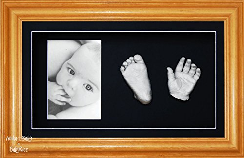 BabyRice 3D Baby Casting Kit Silver Paint with Honey Pine Display Photo Frame from BabyRice