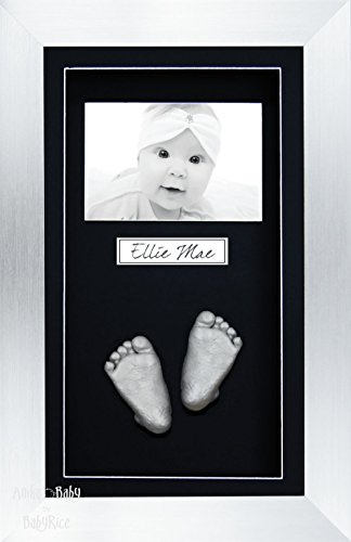 BabyRice 3D Baby Casting Kit Silver Paint with Silver Display Photo Frame from BabyRice