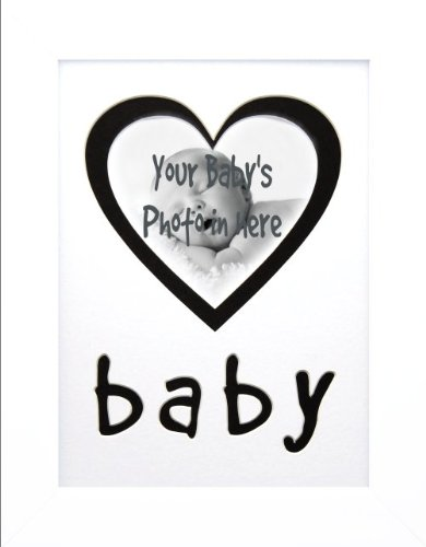 "BabyRice Handmade 12x9"" Baby's 1st White Photo Frame White Mount with Black contrast Heart Picture Space + FREE INKLESS WIPE KIT! from BabyRice"