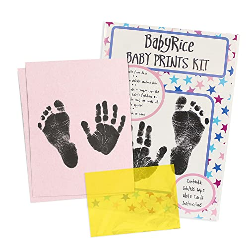"BabyRice Value Baby Handprints and Footprints Kit Black Inkless Wipes No Messy Ink! Choose pack size (1 WIPE /11x8.5"" x2 PINK CARDS) from BabyRice"