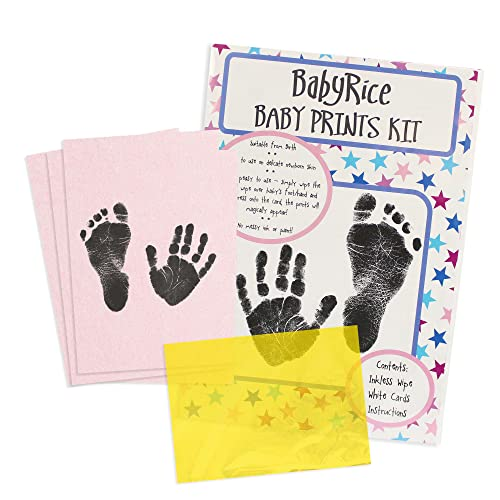 "BabyRice Value Baby Handprints and Footprints Kit Black Inkless Wipes No Messy Ink! Choose pack size (1 WIPE /5.5x8.5"" x4 PINK CARDS) from BabyRice"