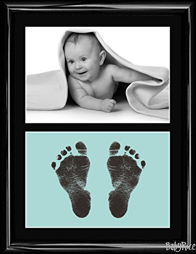 New Baby Boy Girl Gift Inkless Hand and Footprints Kit Frame Impression Prints - White, Pink, Blue, Grey Cards and Choice of Sizes from BabyRice