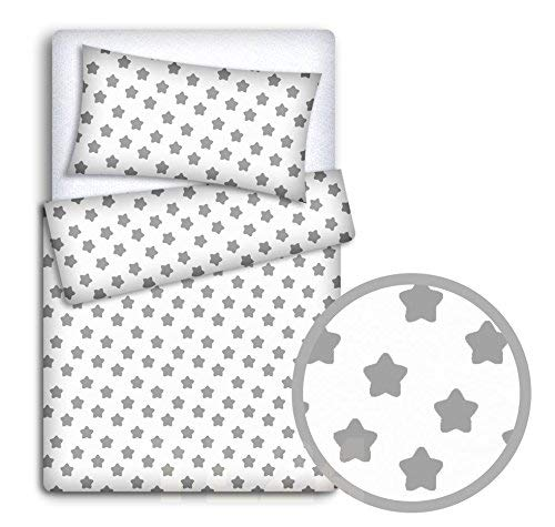 BABY BEDDING SET PILLOWCASE + DUVET COVER 2PC TO FIT BABY COT BED (Big grey stars on white background) from Babymam