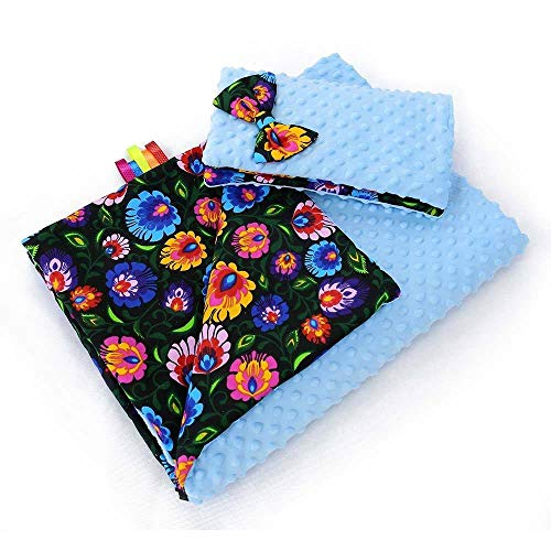 BABY BLANKET MINKY FLUFFY COTTON SOFT TO TOUCH WARM QUILT PILLOW 100x75 cm (Blue - flowers on black) from Babymam