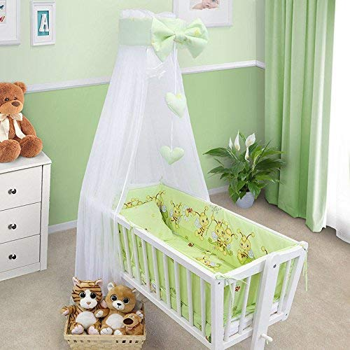 BABY CANOPY DRAPE MOSQUITO NET WITH HOLDER TO FIT CRIB (BEES GREEN) from Babymam