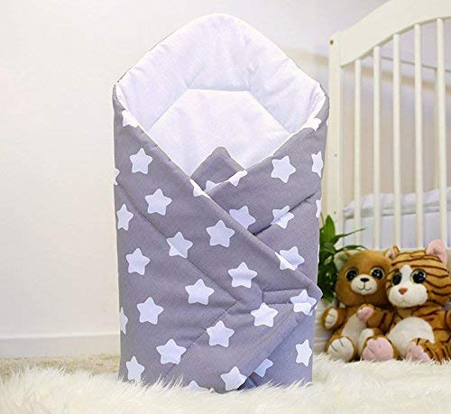 BABY SWADDLE WRAP NEWBORN INFANT BEDDING BLANKET COTTON SLEEPING BAG COTTON WRAP (Big white stars on grey background) from Babymam