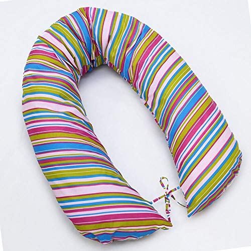 BREAST FEEDING PILLOW BABY NURSING MATERN​ITY PREGNANCY COTTON COVER 170CM (Magenta stripes) from Babymam