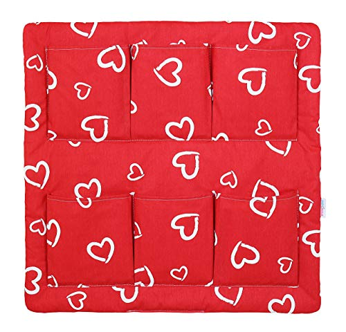 COT TIDY ORGANISER COT BED NURSERY HANGING STORAGE MANY DESIGNS 6 POCKETS BABYMAM (WHITE HEARTS ON RED) from Babymam