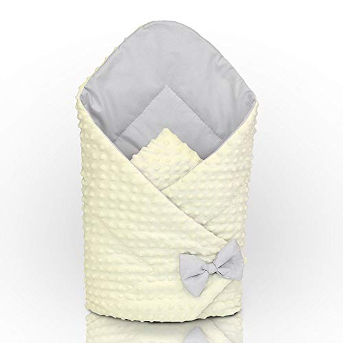 MINKY SWADDLE WRAP NEWBORN INFANT BEDDING BLANKET COTTON SLEEPING BAG COTTON (Cream - grey) from Babymam