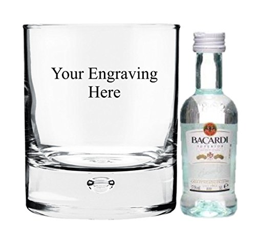 Personalised engraved 8oz Bubble glass with 5cl Miniature Bacardi in Silk Lined gift box from Bacardi