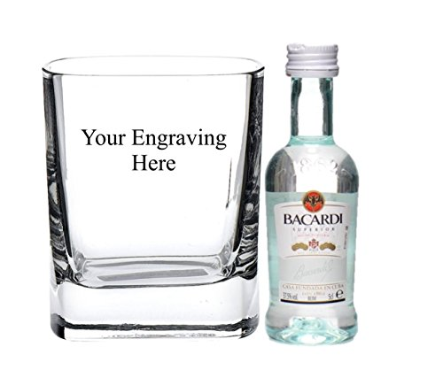Personalised engraved 8oz Strauss square glass with 5cl Miniature Bacardi in board gift box from Bacardi