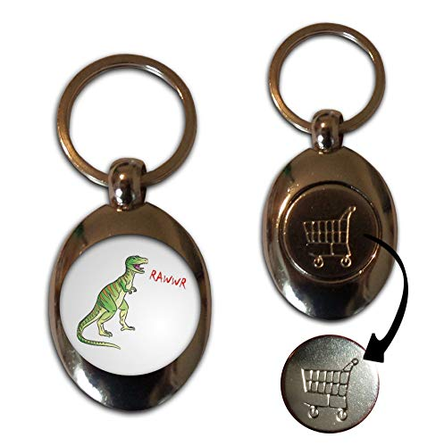 Dinosaur Rawwr! - £1/€1 Metal Shopping Coin Token Key Ring from BadgeBeast.co.uk