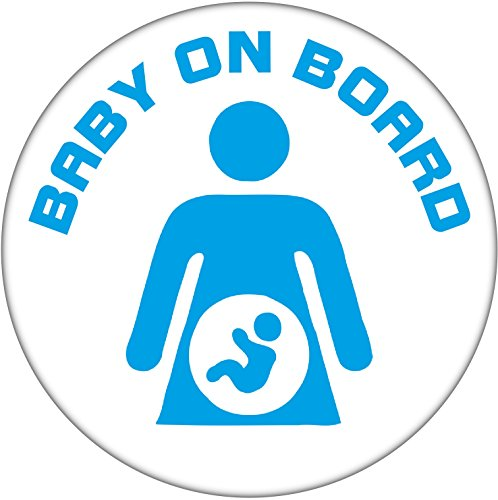 Baby on Board 59mm Badge - Blue Pregnant Woman Lady from Baked Bean Store