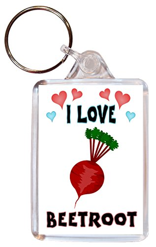 I Love Beetroot - Double Sided Large Keyring Key Fob Chain Name Tag Souvenir/Gift/Present from Baked Bean Store