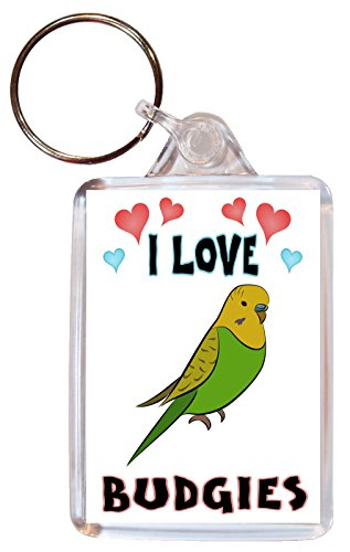 I Love Budgies/Budgie - Double Sided Large Keyring Name Tag Novelty Gift/Present from Baked Bean Store