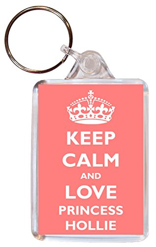 Keep Calm and Love Princess Hollie - Double Sided Large Keyring Gift/Present Girl/Girls Name Tag Souvenir from Baked Bean Store