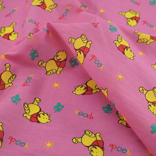 1 Metre | Pink Disney Winnie The Pooh Printed Polycotton Fabric **Free UK Post** Japanese Qkt 4000 Polycotton Poplin Material Dressmaking Cartoon Printed Fabric 115cm width from Balsara's