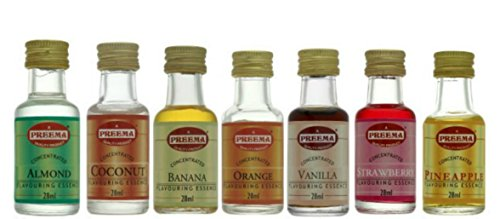 7 x ESSENCE **FREE UK POST** STRAWBERRY ESSENCE, ORANGE ESSENCE, VANILLA ESSENCE, PINEAPPLE ESSENCE, COCONUT ESSENCE, BANANA ESSENCE, ALMOND ESSENCE EXTRACT LIQUID COOKING FOOD CAKES BAKING FLAVOUR FRUIT ESSENCE from Balsara's