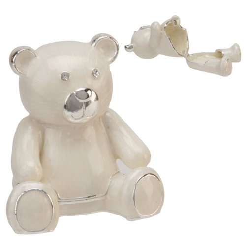 Bambino Silverplated & Cream Epoxy & Crystals Teddy Keepsake Box from Bambino by Juliana