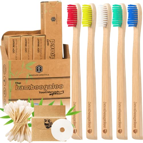 BAMBOOGALOO Organic Bamboo Toothbrushes | 5 Pack with FREE Bamboo Cotton Buds | Premium UK Design | Natural Wooden Toothbrush | Unique Bristle Shape, Medium Firm | Biodegradable Eco Friendly Gifts Box from Bamboogaloo