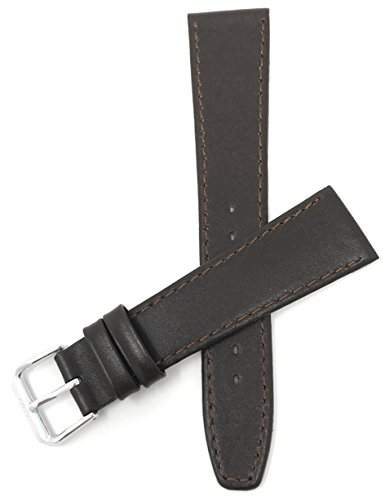 Bandini 18mm Italian Leather Watch Strap Band - Brown with Stitching - Classic - Slim from Bandini