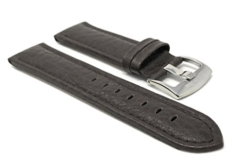 20mm Brown Smartwatch Band Strap fits Motorola 360 (42mm Case) & Many More, Leather, Buffalo Pattern, Stainless Steel Buckle from Bandini