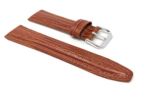 20mm Lizard Style Glossy Tan Leather Smartwatch Band Strap fits Skagen Hagen, Signatur, Hald & Many More from Bandini
