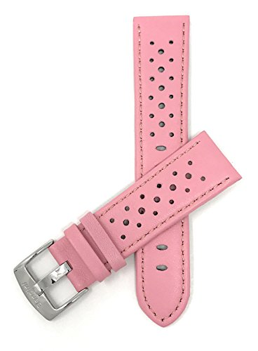Bandini 20mm Mens Italian Leather Watch Band Strap - Pink - Vented Racer - GT Rally from Bandini