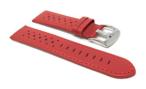 20mm Red Smartwatch Band Strap fits Motorola 360 (42mm Case) & Many More, Leather, Vented Racer, Stainless Steel Buckle from Bandini