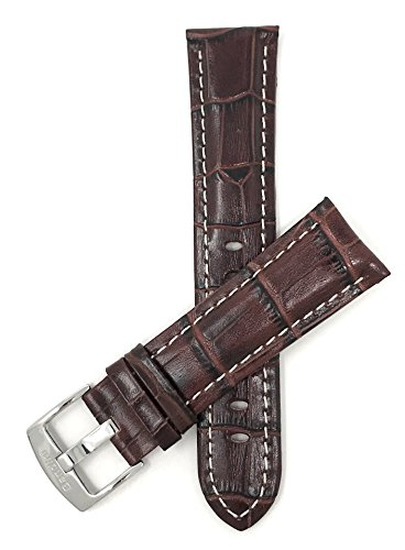 20mm Wide, Brown Mens' Alligator Style Genuine Leather Watch Band Strap, with White Stitching, Glossy Finish, Comes in Royal Blue, White, Black and Tan from Bandini