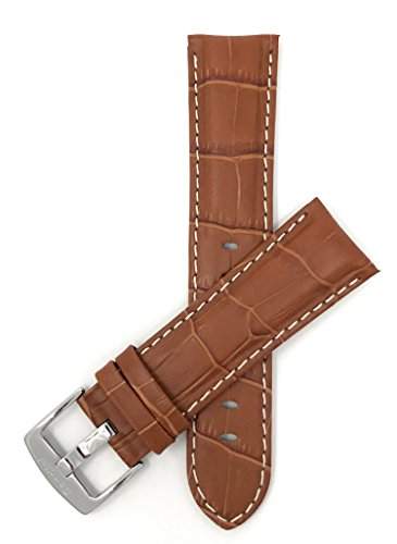 Bandini 22mm Mens Italian Leather Watch Band Strap - Tan with White Stitch - Alligator Pattern from Bandini