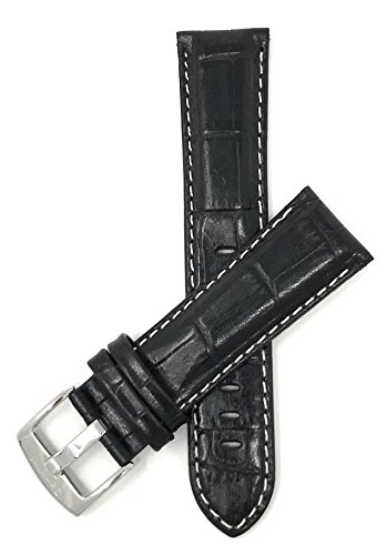 22mm Wide, Black Mens' Alligator Style Genuine Leather Watch Band Strap, with White Stitching, Glossy Finish, Comes in Royal Blue, White, Brown and Tan from Bandini