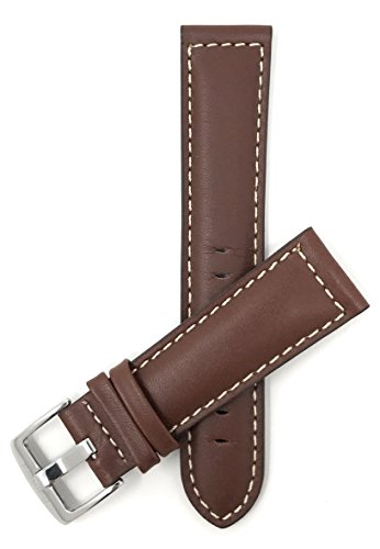 Bandini 22mm Mens Leather Watch Band Strap - Light Brown - White Stitching - Mat Finish from Bandini