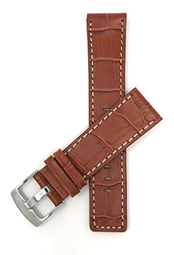Bandini 24mm Mens Genuine Leather Watch Band Strap - Tan with White Stitch - Alligator Pattern - Square Edged from Bandini