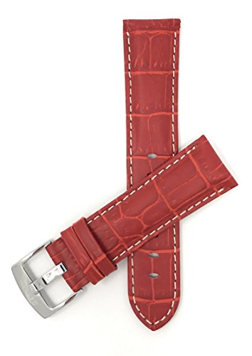 Bandini 26mm Mens Italian Leather Watch Band Strap - Red with White Stitch - Alligator Pattern from Bandini