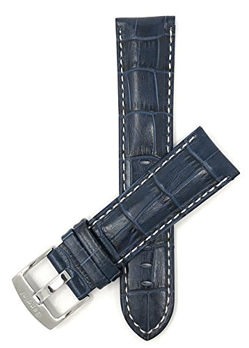 Extra Long 22mm Mens Italian Leather Watch Band Strap - Blue with White Stitching - Alligator Pattern from Bandini