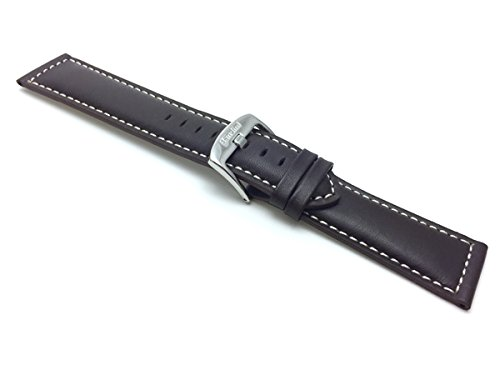 Bandini Extra Long (XL) 30mm Mens Italian Leather Watch Strap Band - Brown - Mat Finish - White Stitching from Bandini