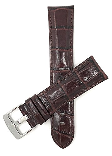 Mens' Alligator Style Genuine Leather Watch Band Strap, Available Band Widths 18mm, 20mm, 22mm, 24mm, 26mm, 28mm, 30mm (All Sizes Come in XL Also), Comes in Black, White, Royal Blue, Brown and Tan from Bandini