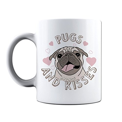 f668adb9b62 Novelty Printed Mugs Pugs   Kisses Coffee Mug Cup Gift from Bang Tidy  Clothing