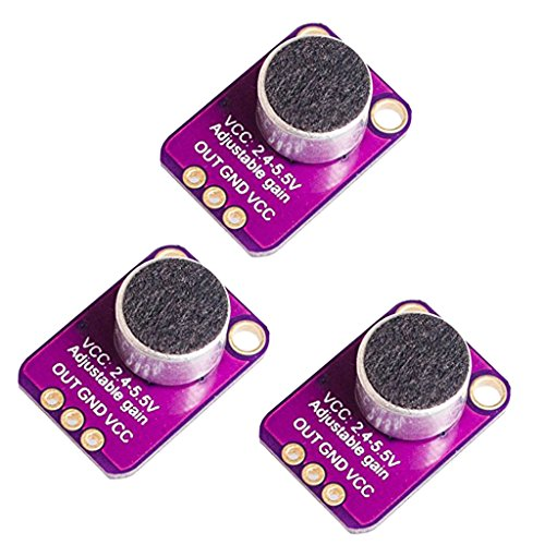 Baoblaze GY-MAX4466 Electret Microphone Amplifier with Adjustable Gain for Arduino, Set of 3, Purple from Baoblaze